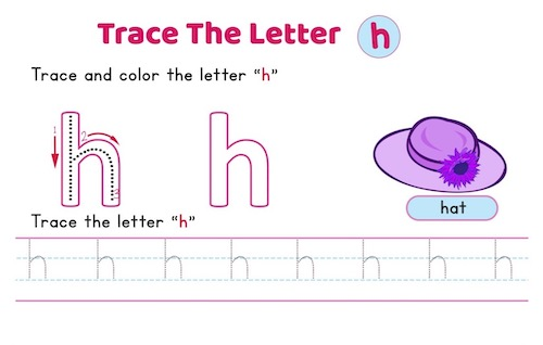 lowercase_letter_h_tracing_worksheets