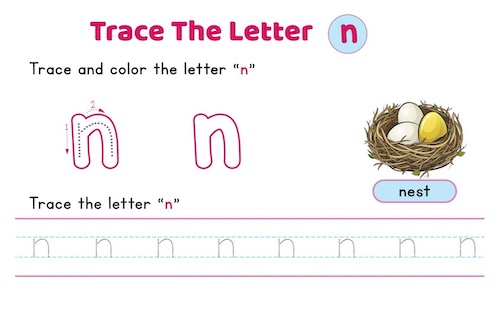 lowercase_letter_n_tracing_worksheets