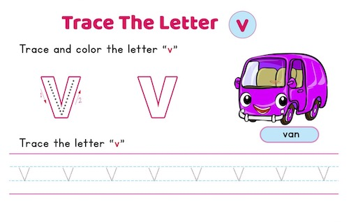 lowercase_letter_v_tracing_worksheets