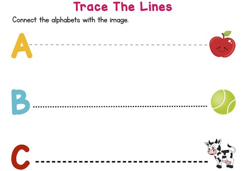 trace_the_dotted_lines_prekindergarten_worksheets_A_to_E