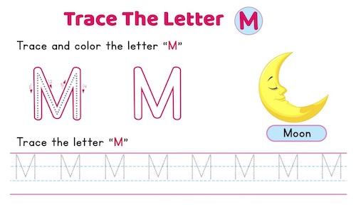 uppercase_letter_M_tracing_worksheets