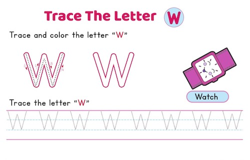 uppercase_letter_W_tracing_worksheets